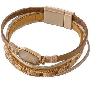 Multi Strand Faux Leather Magnetic Closure NWT